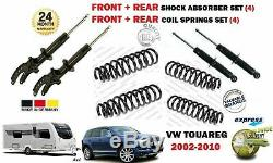 For Vw Touareg 2002-new Front + Rear 4 Shock Absorbers Set + 4 Coil Springs Kit